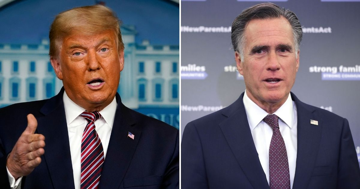 Arch NeverTrumper Mitt Romney, right, tried Thursday to give President Donald a hard shove out of the White House, but Trump pushed back even harder.