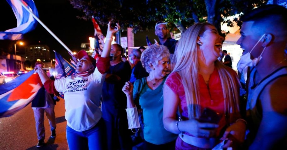 Supporters of President Donald Trump rally in front of the Versailles Cuban restaurant in Miami on Nov. 3, 2020.