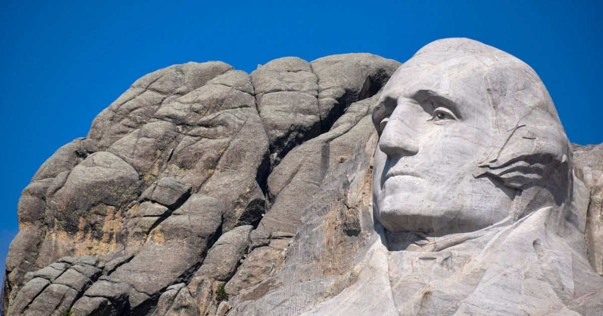 President George Washington's visage at Mount Rushmore National Monument in South Dakota is pictured above.
