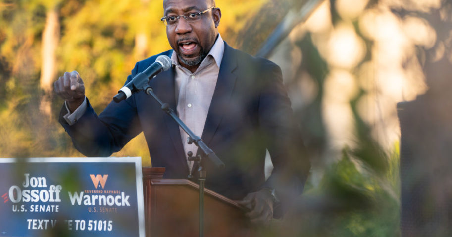 Democratic Senate candidate the Rev. Raphael Warnock speaks at a campaign event in Jonesboro, Georgia, on Thursday.