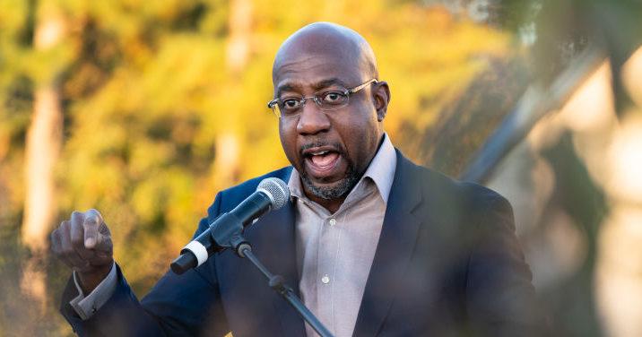 Democratic Senate candidate the Rev. Raphael Warnock speaks at a campaign event in Jonesboro, Georgia, on Thursday.