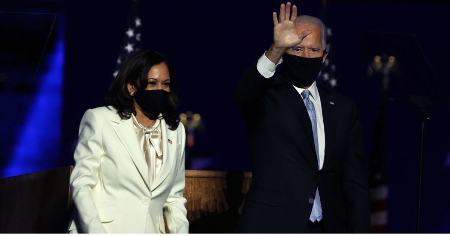 Presumptive President-elect Joe Biden and Presumptive Vice President-elect Kamala Harris take the stage at the Chase Center to address the nation Saturday in Wilmington, Delaware.