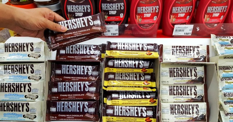 The stock photo above show a photo of varius Hershey's products.