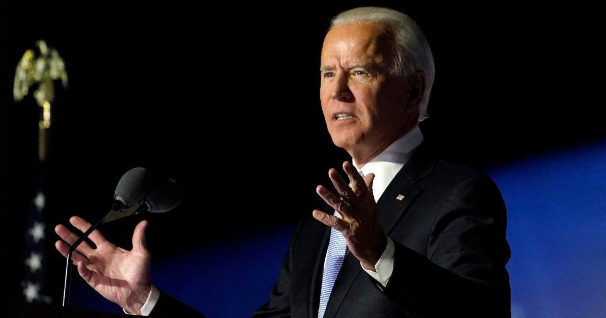 Presumptive President-elect Joe Biden speaks Saturday in Wilmington, Delaware