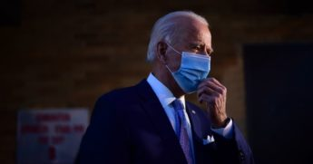 Joe Biden speaks with the media as he departs the Queen Theater on Tuesday in Wilmington, Delaware.