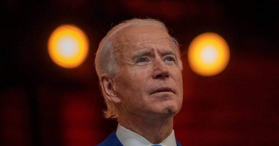 Presumptive president-elect Joe Biden delivers a Thanksgiving address at the Queen Theatre on Wednesday in Wilmington, Delaware.
