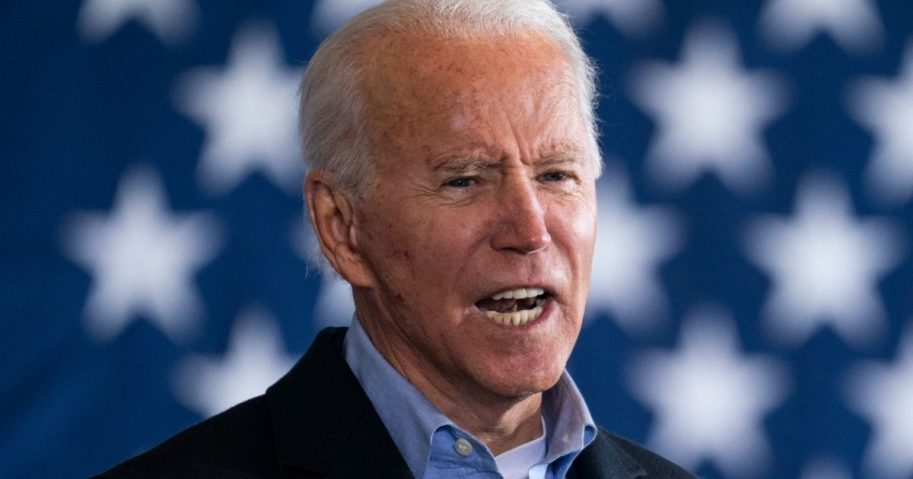 Democratic presidential nominee Joe Biden speaks at a get-out-the-vote drive-in rally at Cleveland Burke Lakefront Airport in Cleveland on Monday.