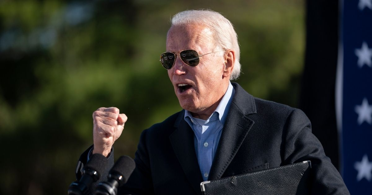Democratic presidential nominee Joe Biden speaks at a campaign stop at Community College of Beaver County in Monaca, Pennsylvania, on Monday.