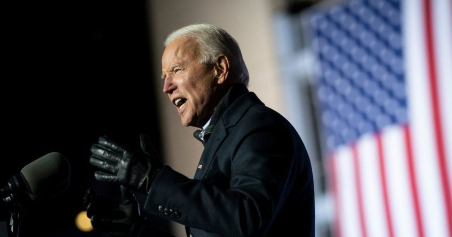 Democratic presidential nominee Joe Biden speaks during a drive-in campaign rally at Heinz Field in Pittsburgh on Monday.
