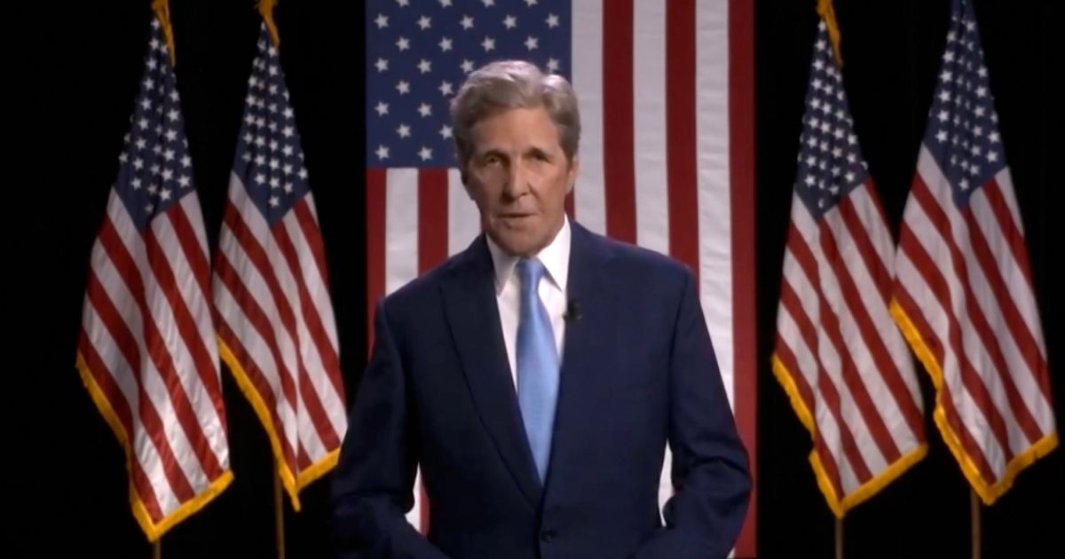 In this screenshot from the DNCC's livestream of the 2020 Democratic National Convention, Former U.S. Secretary of State John Kerry addresses the virtual convention on Aug. 18.