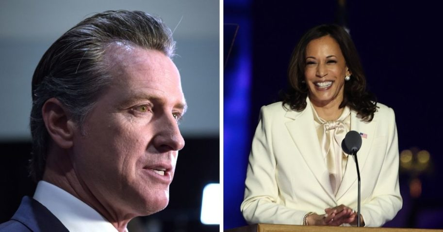 Democratic California Governor Gavin, left, Newsom speaks to the press and Kamala Harris, right, takes the stage in Wilmington, Delaware.