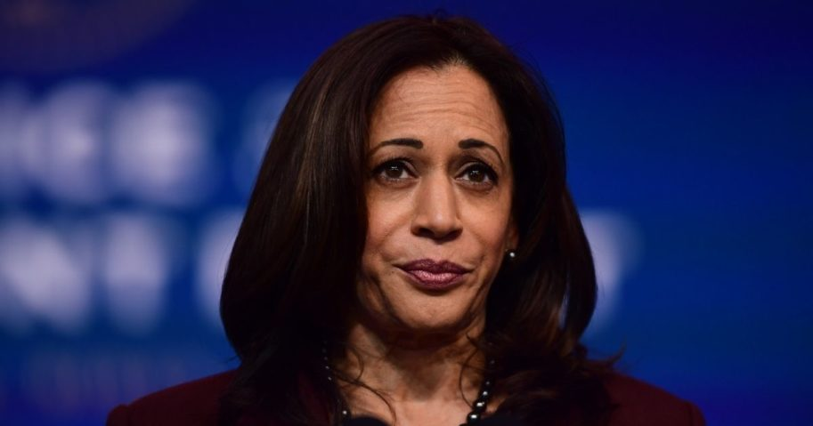 Presumptive vice president-elect Kamala Harris speaks at the Queen Theatre in Wilmington, Delaware, on Tuesday.