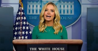 White House press secretary Kayleigh McEnany speaks during a briefing at the White House in Washington on Friday.