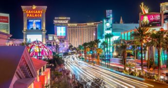 The above stock photo shows the city of Las Vegas lit up at night.