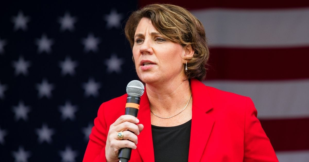 Democrat Amy McGrath speaks during a rally at Lynn Family Stadium in Louisville, Kentucky, on Oct. 27.