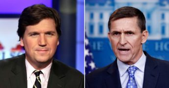 Former National Security Advisor Michael Flynn, right, lambasted prominent Fox News host Tucker Carlson on Friday night, defending his personal lawyer Sidney Powell against disparaging remarks pertaining to her work on Trump campaign litigation related to the 2020 presidential election.