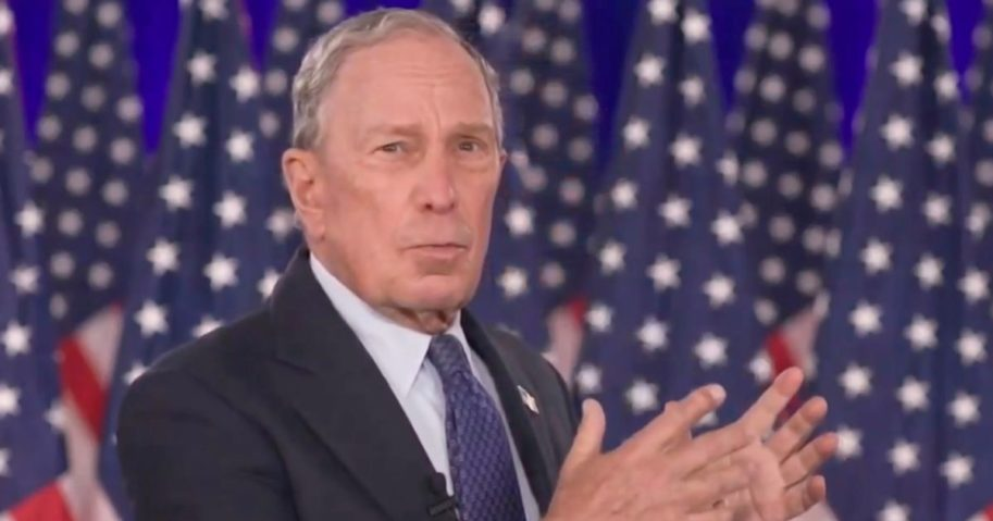In this screenshot from the DNCC's livestream of the 2020 Democratic National Convention, former New York Mayor Michael Bloomberg addresses the virtual convention on Aug. 20.
