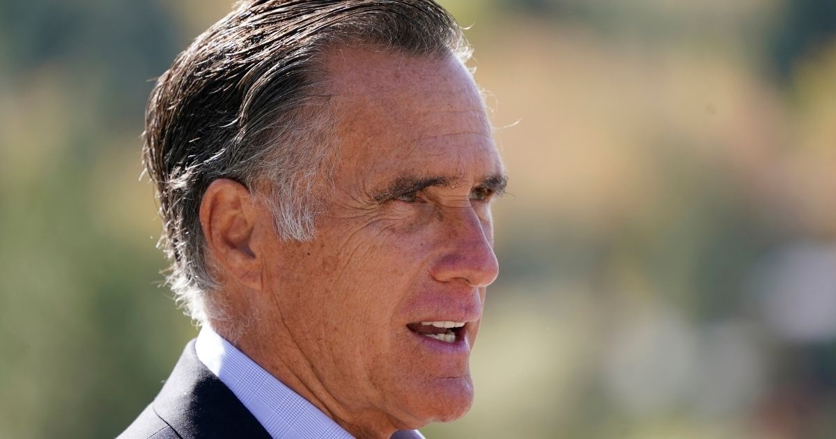 Utha Republican Sen. Mitt Romney speaks during a news conference Oct. 15, 2020, near Neffs Canyon, in Salt Lake City.