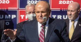 Attorney for the President, Rudy Giuliani speaks to the media on Saturday in Philadelphia.