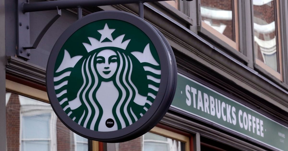The above photo shows a sign for a Starbucks Coffee shop in Harvard Square in Cambridge, Massachusetts.
