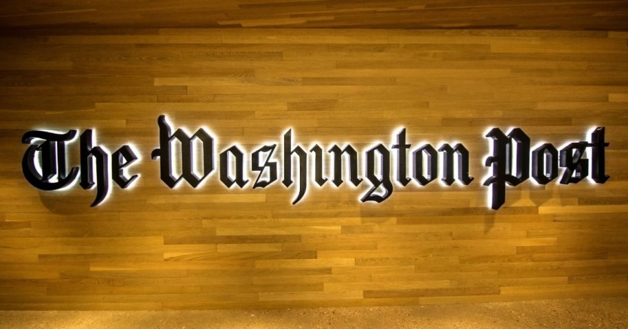 The entrance to The Washington Post's building in Washington, D.C., is pictured above.