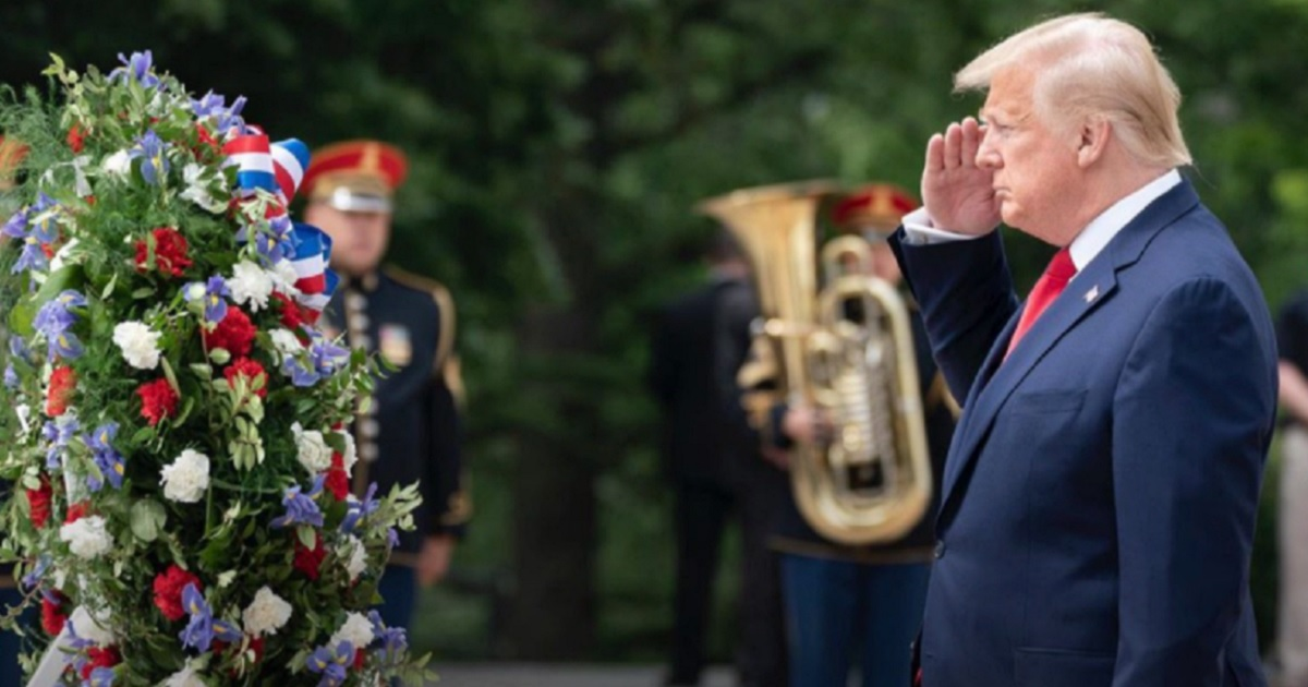President Donald Trump salutes during a Veterans Day ceremony Tuesday at Arlington National Cemetery.