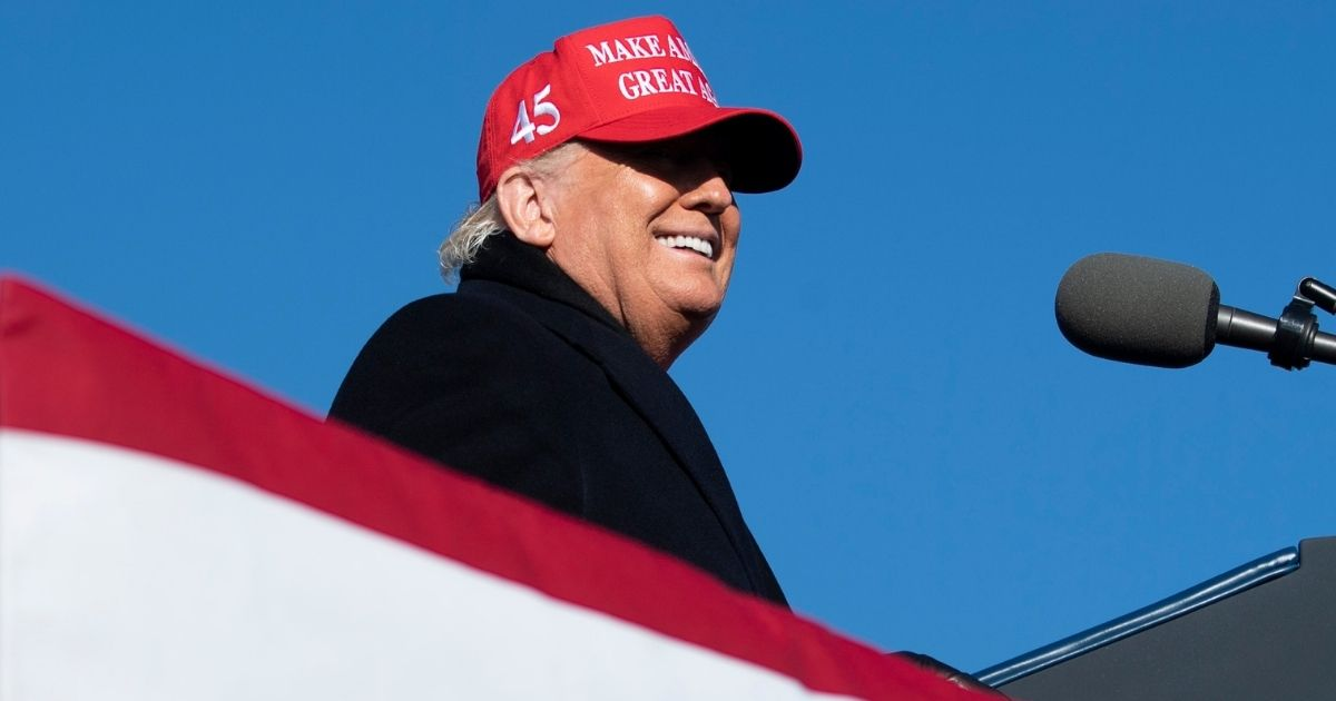 President Donald Trump speaks during a campaign rally Monday at the Wilkes-Barre Scranton International Airport in Avoca, Pennsylvania.