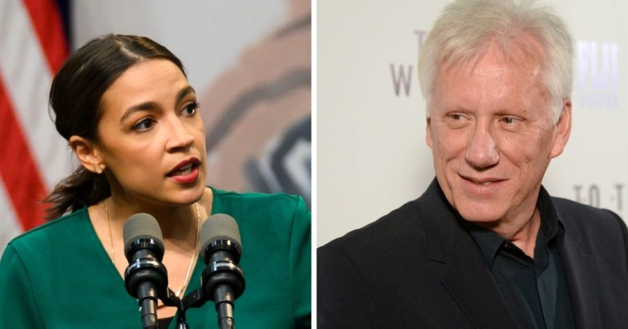 New York Rep. Alexandria Ocasio-Cortez, left; and actor James Woods, right.