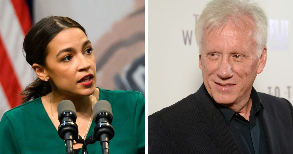 New York Rep. Alexandria Ocasio-Cortez, left; and actor James Woods, right.