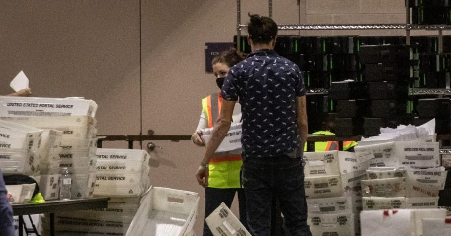 Mail-in ballots are handled at the Philadelphia Convention Center on Election Day.
