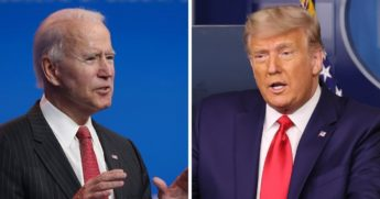 Former Vice President Joe Biden, left; President Donald Trump, right.