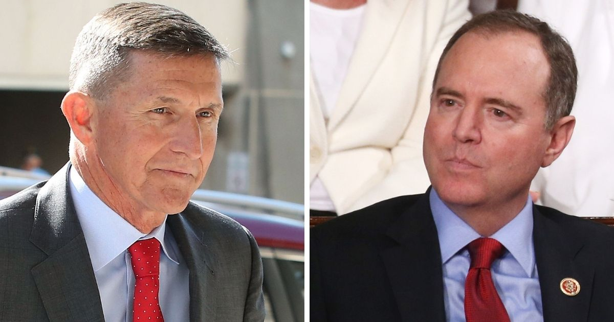 Former National Security Advisor Michael Flynn, left; and Rep. Adam Schiff, right.