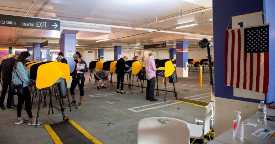 Hills (California) City Hall voting center -- set up in a parking garage -- on Oct. 28, 2020. Among the state's ballot measures, Californians rejected Proposition 16, which would have brought back various affirmative action policies.