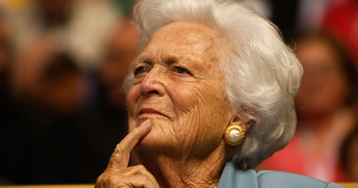 Former first lady Barbara Bush listens at the Republican National Convention in St. Paul, Minnesota, on Sept. 2, 2008. Bush died on April 17, 2018, and was remembered by a former Secret Service agent for her 'candor and grace.'