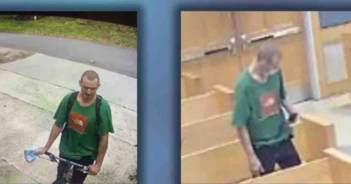 Police said an unidentified man in South Carolina was wearing the same shirt on two consecutive days: in a courtroom, right, the day after he stole items from porches in a Goose Creek neighborhood, left.