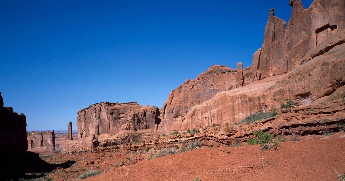 The above stock photo shows red-rock formation at Arches National Park in Moab, Utah.