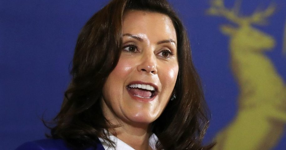 Michigan Gov. Gretchen Whitmer introduces Democratic presidential candidate Joe Biden at the Beech Woods Recreation Center in Southfield on Oct. 16.