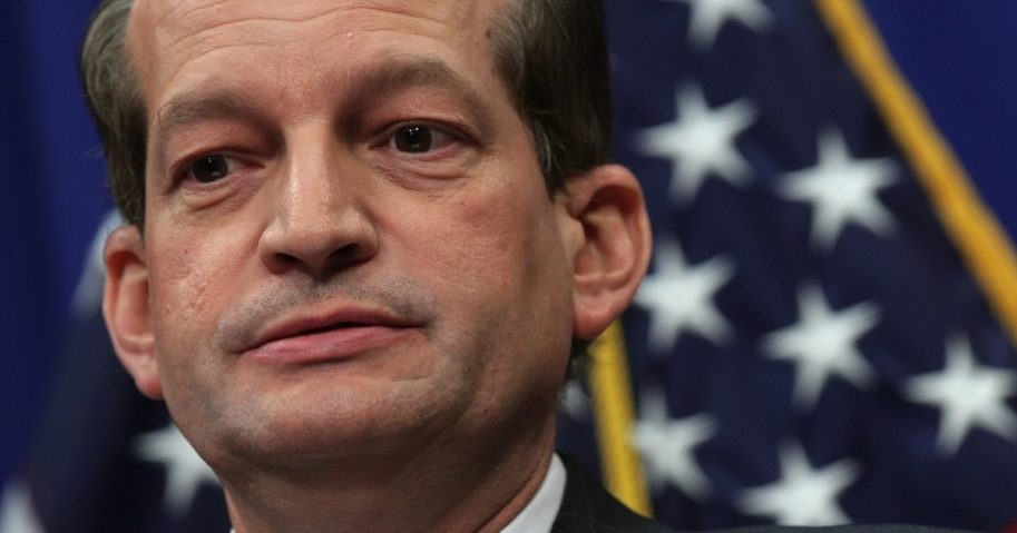 Secretary of Labor Alex Acosta speaks during a news conference on July 10, 2019, at the Labor Department in Washington, D.C.