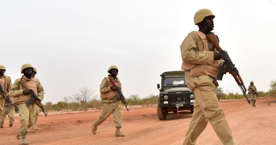 Soldiers from Burkina Faso take part in training at a military camp near Ouagadougou in Burkina Faso on April 13, 2018.