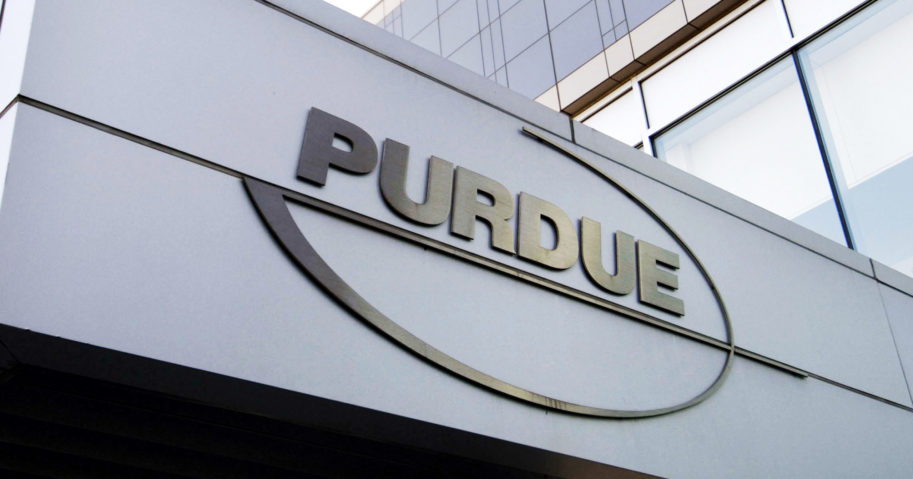 In this May 8, 2007, file photo, a Purdue Pharma logo is seen on a Purdue building in Stamford, Connecticut.