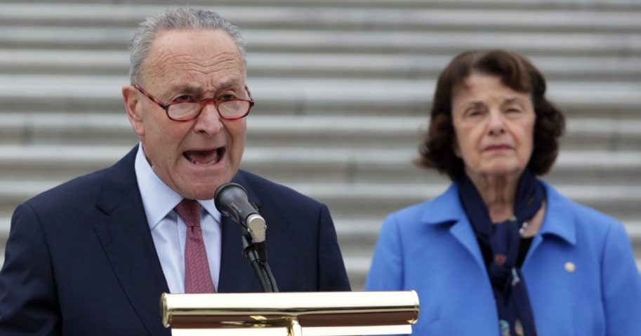 Senate Minority Leader Sen. Chuck Schumer speaks during a news conference in front of the US Capitol on Oct. 22, 2020, in Washington, D.C.
