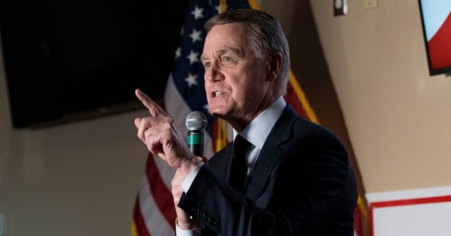 Sen. David Perdue speaks at a campaign event at a restaurant on Nov. 13, 2020, in Cumming, Georgia.