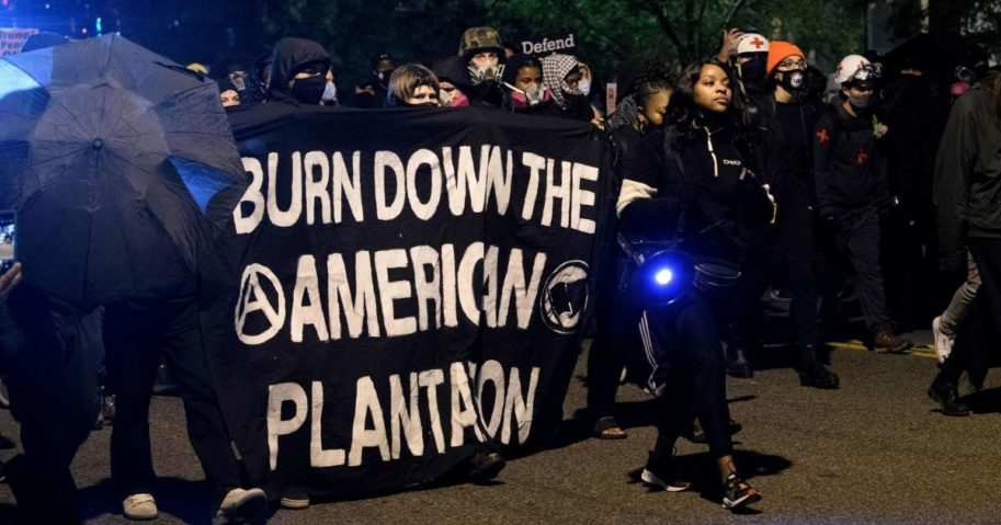 Antifa and Black Lives Matter demonstrators protest on election night near the White House in Washington, D.C., on Nov. 3, 2020.