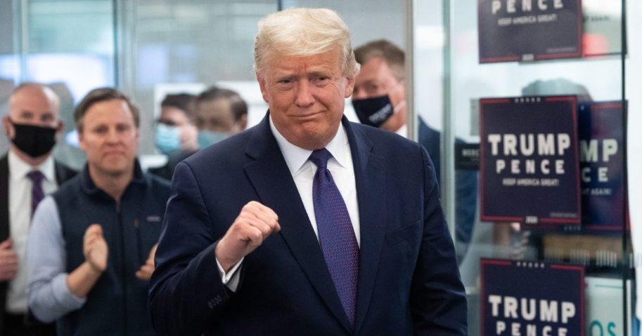 President Donald Trump visits his campaign headquarters in Arlington, Virginia, on Nov. 3, 2020.
