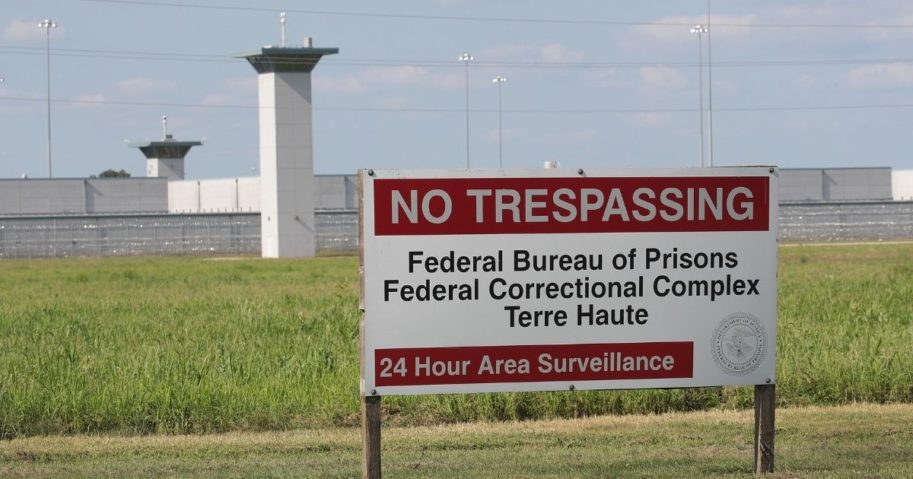 A sign stands outside the Federal Correctional Complex Terre Haute on July 25, 2019, in Terre Haute, Indiana.