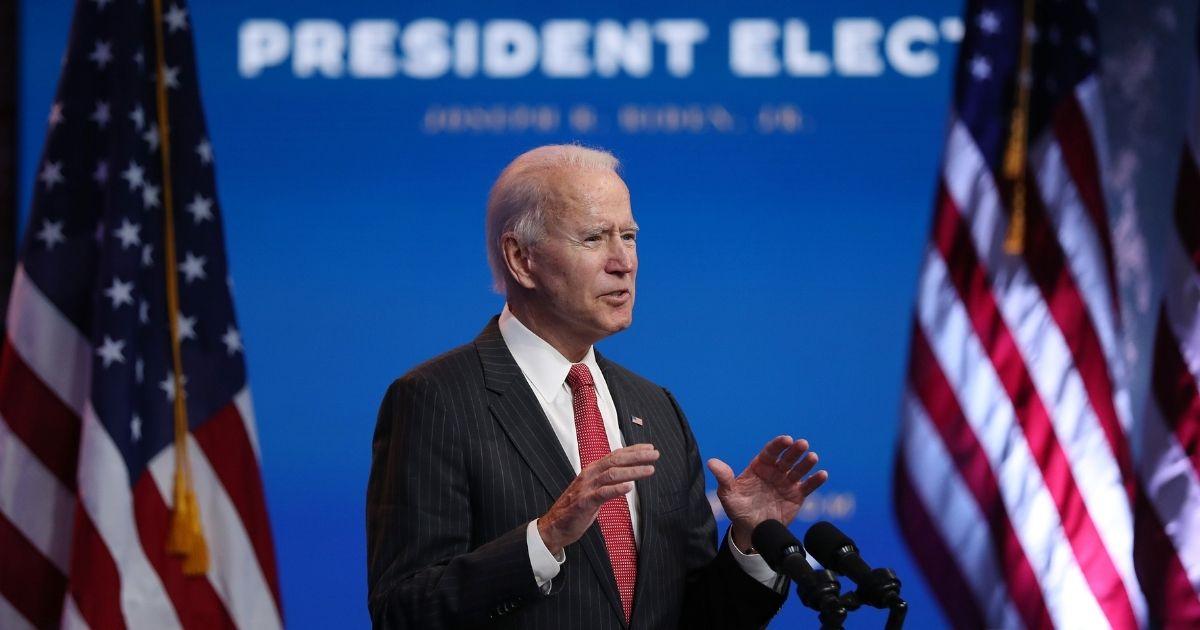 Joe Biden addresses the media on Nov. 19, 2020, in Wilmington, Delaware.