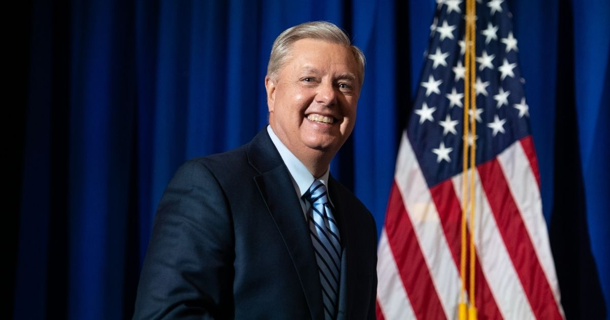 Incumbent candidate Sen. Lindsey Graham of South Carolina walks on stage during his election night party on Nov. 3, 2020, in Columbia, South Carolina. Graham defeated Democratic candidate Jaime Harrison.