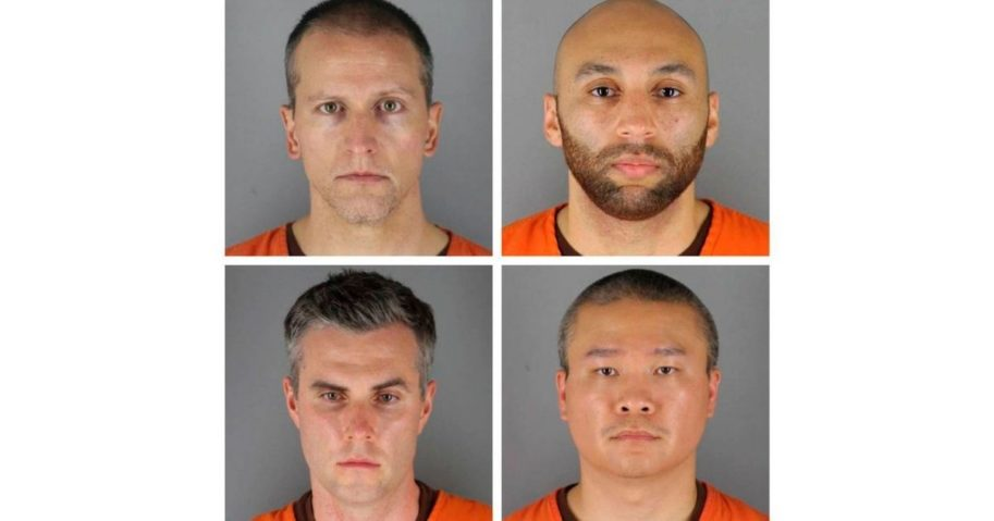 Clockwise from top left, this image shows the mug shots of Derek Chauvin, J. Alexander Keung, Tou Thao and Thomas Lane, former Minneapolis police officers charged in the death of George Floyd.
