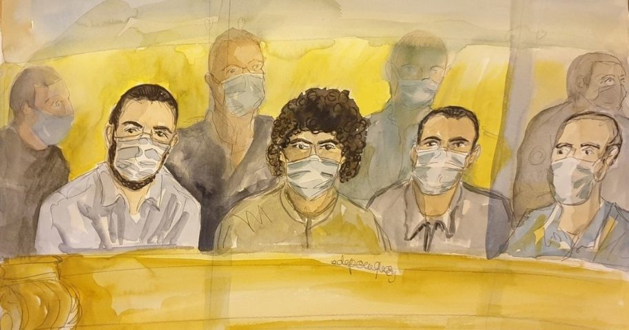A courtroom sketch made on Nov. 16, 2020, shows, from left to right, Ayoub El Khazzani, Mohamed Bakkali, Bilal Chatra and Redouane El Amrani Ezzerrifi sitting in a courthouse in Paris on Nov. 16, 2020, during the trial for a foiled terror attack in August 2015.