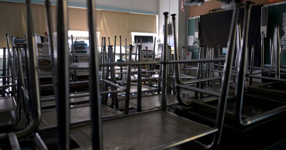 A classroom sits empty on Nov. 19, 2020, at Yung Wing School in New York City.